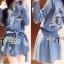 DR-LR-269 Lady Samantha Mickey Mouse Print Ribbon Denim Shirt Dress thumbnail 1