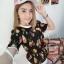 เสื้อลายดอกผ้าชีฟองอัดพิชเนื้องนิ่มเบาสบายๆ thumbnail 4