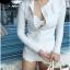 SM-V1-521 ชุดว่ายน้ำแขนยาว เอวสูง สีขาวสวย เซ็ต 3 ชิ้น (บรา+เอวสูง+เสื้อคลุมแขนยาวมีซิป) thumbnail 7