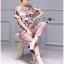 Lady Jennifer Floral Printed Top and Pink Ribbon Pants Set L260-7906 thumbnail 3