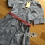 Lady Sara Minimal Asymmetric Grey Dress with Red Belt L250-69C09 thumbnail 14