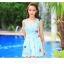 SM-V1-397 ชุดว่ายน้ำทรงชุดแซก สีฟ้าสวยลายน่ารัก เซ็ต 2 ชิ้น ชุดแซก+บิกินี่ thumbnail 7