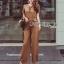 Lady Lyla Modern Minimal Chic Lacy Camel Jumpsuit L258-7905 thumbnail 8