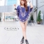 Florally Embroidery Blouse สีกรม C143-49A15 thumbnail 3