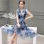 Korea Cocktail Dresses blue floral print by Aris Code thumbnail 5