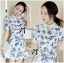 DR-LR-277 Lady Sweet Pearl Collar Blue Floral Blooming Chinoise Dress thumbnail 7