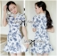 DR-LR-277 Lady Sweet Pearl Collar Blue Floral Blooming Chinoise Dress thumbnail 1