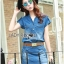 Lady Cindy Little Western Cowboy Denim Shirt and Shorts Set with Belt L262-8507 thumbnail 7
