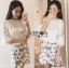 Lady Angie Cut-Out Embroidered Lace Cotton Top and Printed Skirt Set L268-791 thumbnail 1