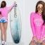 SM-V1-649 ชุดว่ายน้ำแขนยาว สีชมพูสวย กางเกงขาสั้นสีสันสดใส thumbnail 3