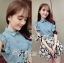 DS-PP-036 Lady Marry Ruffle Denim Shirt and Flowery Skirt Set thumbnail 5