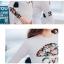 SM-V1-409 ชุดว่ายน้ำแขนยาว พื้นสีขาวสกรีนลายดอกไม้สวยๆ กางเกงบิกินี่สีดำ thumbnail 10