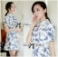 DR-LR-277 Lady Sweet Pearl Collar Blue Floral Blooming Chinoise Dress thumbnail 4