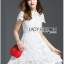 Lady Gabriela Crystal Embellished Flower White Lace Dress L263-8909 thumbnail 5