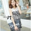 DS-PP-035 Lady Margaret Casual Chic Graphic Print Lace Jumpsuit thumbnail 5