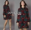 Lady Amanda Dramatic Burgundy Floral Printed Flared-Sleeve Dress L239-69C10 thumbnail 14