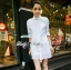 DR-LR-225 Lady Vanessa Classic Insert Lace Shirt Dress in White thumbnail 3