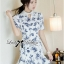 DR-LR-277 Lady Sweet Pearl Collar Blue Floral Blooming Chinoise Dress thumbnail 2