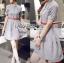 Lady Sara Minimal Asymmetric Grey Dress with Red Belt L250-69C09 thumbnail 2