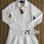 DR-LR-207 Lady Eva Basic Minimal Chic Flared Shirt Dress in White thumbnail 16