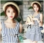 DR-LR-074 Lady Kate Super Striped Navy Dress thumbnail 11