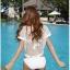 SM-V1-446 ชุดว่ายน้ำ เซ็ต 3 ชิ้น สีขาวครีม บรา+บิกินี่+เสื้อตาข่าย thumbnail 9