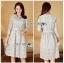 Lady Aliza Classic Vintage Plain Lace Dress with Belt L273-7909 thumbnail 14