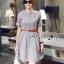 Lady Sara Minimal Asymmetric Grey Dress with Red Belt L250-69C09 thumbnail 8