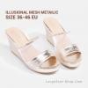 รองเท้าแตะส้นเตารีดไซส์ใหญ่ Illusional Mesh Metaillc ไซส์ 36-46 จากแบรนด์ CHOWY - CH0127