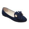 รองเท้าคัชชูส้นแบน ติดโบว์ใหญ่ สีน้ำเงินเข้ม ไซส์ 44 - KR0523