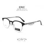 ERIC - matte black แว่นตา TR90 กรอบทรงเหลี่ยม ขาโลหะ กว้าง 137 มม.(size M) ระบบน็อตยึดเลนส์