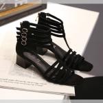 รองเท้าไซส์ใหญ่ 40-44 EU แบบเส้น ส้นตึก สีดำ แบรนด์ CHOWY รุ่น CH0136