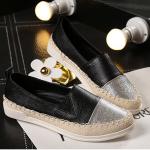 รองเท้าสไตล์โลฟเฟอร์ ไซส์ใหญ่ 40-43 สีดำ-เงิน รุ่น KR0589