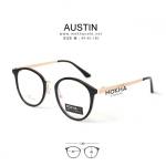 AUSTIN - black gold แว่นตา TR90 กรอบเหนียว ทนทาน ขาโลหะ กว้าง 140 มม.(size M)