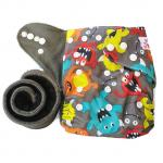 Double Gusset Charcoal Inner Pocket Cloth Diaper + ONE 5 layer Bamboo Charcoal Insert