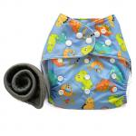 Pocket Cloth Diaper + 1 Bamboo Charcoal Insert (Print Pattern)