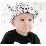 หมวกเด็ก พื้นสีขาวลายดาวดำ