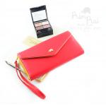 กระเป๋าสตางค์ใส่โทรศัพท์ ใบยาว PrimPrai Smart Wallet สีแดง