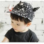 หมวกเด็ก พื้นสีดำลายดาวขาว