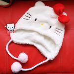 หมวกขนนุ่มลาย Hello Kitty