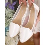 [พร้อมส่ง] ไซส์ 41-45 รองเท้าคัชชูส้นแบน ไซส์ใหญ่ สีขาว ฉลุตาข่ายด้านข้าง