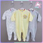 ชุดหมีหุ้มเท้า sleep suit แพ็ค 3 ชุด size 0-3 เดือน