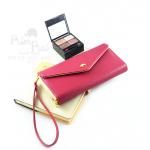กระเป๋าสตางค์ใส่โทรศัพท์ ใบยาว PrimPrai Smart Wallet สีแดงไวน์