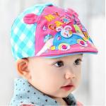 หมวกแก็ปเด็ก สีชมพู-ฟ้า ลายกระต่ายขับรถ
