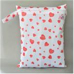 ถุงผ้ากันน้ำ 1 ช่อง Size: L (หูจับกระดุม) i2 -Red Hearts