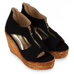 [พร้อมส่ง] ไซส์ 40-45 รองเท้าส้นเตารีด ซิบหน้า หนังกลับนิ่ม สีดำ