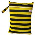 ถุงผ้ากันน้ำ 1 ช่อง Size: L (หูจับกระดุม) i2 -ลายทางผึ้ง