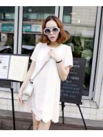 SALES!!! KOREAN STRIPES DRESS เสื้อผ้าผู้หญิงนำเข้า ชุดเดรสเกาหลี เดรสสั้น เเขนสั้น ลายทาง สีชมพูสลับสีขาว สไตล์เกาหลี สินค้านำเข้า พร้อมส่ง