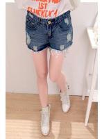 SALES!!!! KOREAN HOLE LOW-WAIST DENIM SHORTS - กางเกงยีนส์ขาสั้นสีเดนิมเข้ม เเต่งขาดเซอร์ ไซส์ L สินค้านำเข้า