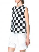 SALES!!! ZARA BLACK & WHITE CHECKERBOARD PLAID SLEEVELESS CHIFFON TOPS - เสื้อเเขนกุด ลายตารางหมกรุกสีขาวสลับสีดำ งาน ZARA สินค้านำเข้าอย่างดี